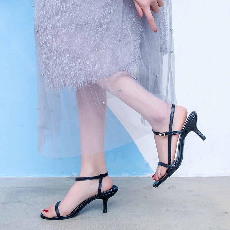 Sandales Orange femmes talons hauts noir blanc rose Sexy sandales fines bretelles été 2019 gladiateur robe sandales de fête décontracté