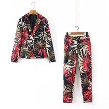 Floral Women Suit Autumn 2019 New Fashion Prints Blazer and Pant Modern Lady 2 P