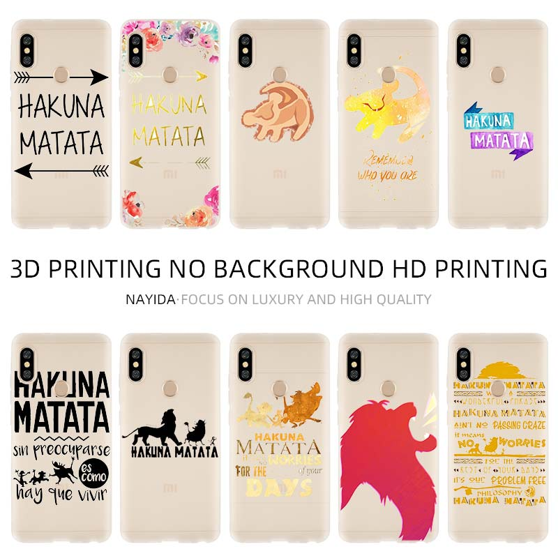 Phone Case Cover Soft For Xiaomi 9 8 Mi A1 A2 A3 lite F1 6 5X se For Redmi Note 8 7 6 5 <font><b>Hakuna</b></font> <font><b>Matata</b></font> <font><b>Lion</b></font> <font><b>King</b></font> image