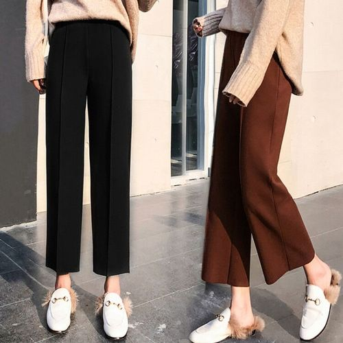 Hot Sale 2019 Autumn And Winter Korean Female Classic High Waist   Wide     Leg     Pants   Female Fashion Slim Solid Color Thick   Pants