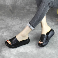 Women Leather Slippers Black Flip Flops Wedge High Heels Summer Shoes For Women Handmade Genuine Leather Women Slippers Shoes