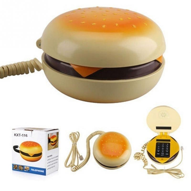 [Funny] Durable CB2 Novetly Juno Hamburger Cheeseburger Burger Corded Phone Novelty Really Telephone Bread Model Phone Cute Gift