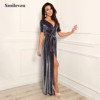 Smileven Gray Velvet Caftan Arabic Evening Dresses Short Sleeve Dubai Formal Party Gowns V Neck Side Split Prom Gowns 2021