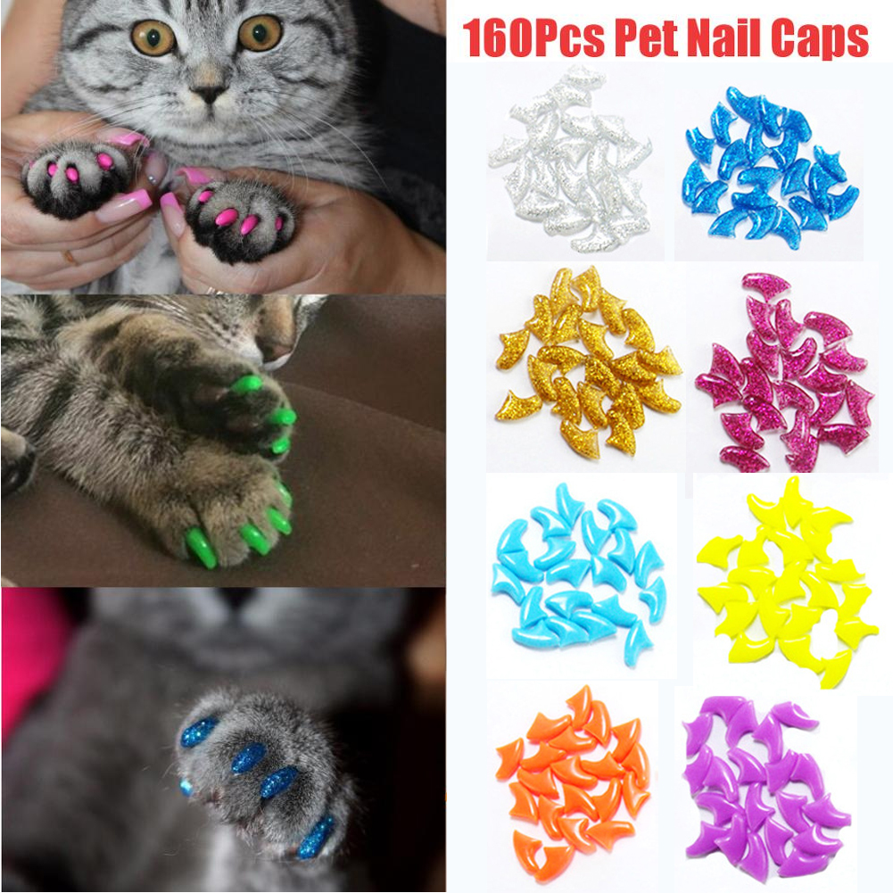 160pcs/set Claws Caps Covers Silicone Pet Nail Art Grooming Home Multifunction Portable Styling Practical Soft 8colors Cats Paws