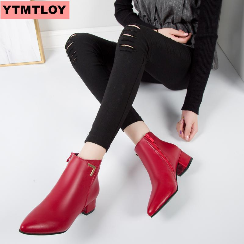 Net red low heel women's shoes single boots 2019 autumn and winter new pointed thick with short boots frosted Chelsea boots