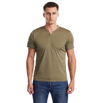 Lycra męska koszulka męska koszulka z krótkim rękawem V-Neck Slim jednolity kolor pół rękawa mężczyzna koszulka 2021 marka mężczyźni T koszula odzież tanie i dobre opinie Daily krótkie CN (pochodzenie) COTTON POLIESTER AUTUMN Na co dzień tops Z KRÓTKIM RĘKAWEM Regular sleeve Sukno Stałe