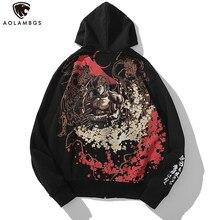 Aolamegs – sweat-shirt à capuche avec fermeture éclair pour homme, style japonais, style samouraï, broderie, Streetwear, Punk, vêtements de sport Cool, automne