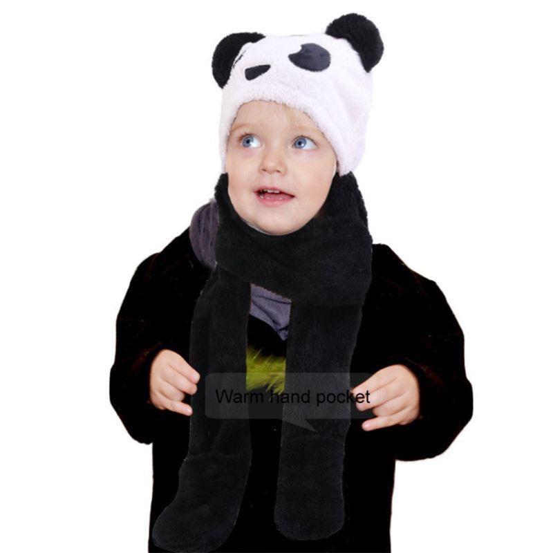 Toddler Kid Winter Cute Animal Panda Bear Pompom Ear 3 In 1 Scarf Hat Gloves Set