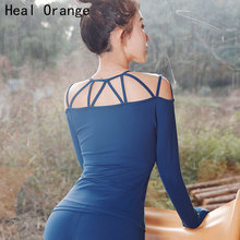 Sexy Bandage Dry Fit Sport Top Fitness Women Workout Shirt Activewear Tops Long Sleeve Gym Femme