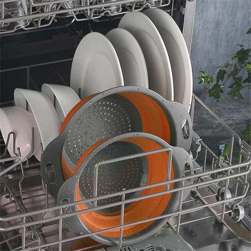 Folding Drain Basket Silicone Colander Various Specifications Optional  Practical Fruit Vegetable Wash Kitchen Storage Tool