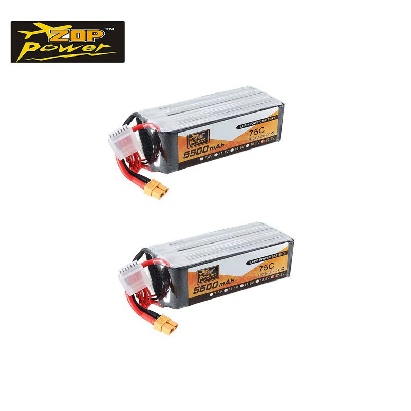 1/2 PCS ZOP 14.8V/22.2V <font><b>5500mAh</b></font> 75C <font><b>4S</b></font>/6S XT60 Plug <font><b>Lipo</b></font> Battery For RC Drone Quadcopter Multirotor Racing FPV Parts Accs image