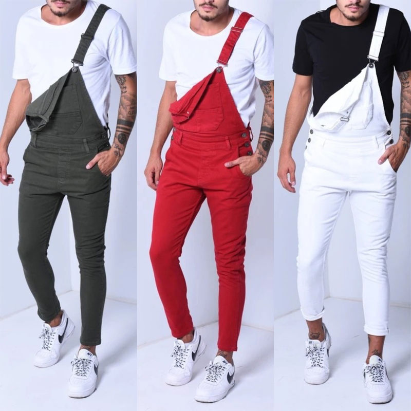 Color: White Green Red 2020 New Denim Bib Korean Slim Men's Trousers Men's Pants Size S-XXXL