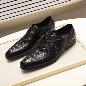 Image 4 - Fashion Mens Oxford Shoes Genuine Leather Classic Crocodile Alligator Print Pointed Toe Lace Up Dress Shoes for Men