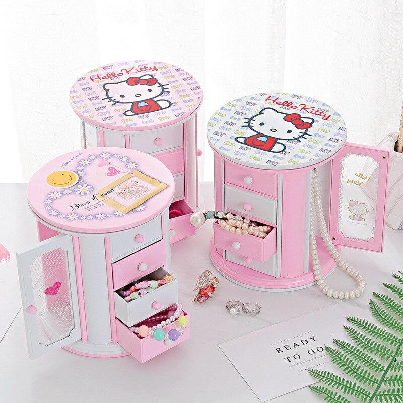 Creative Round Large-capacity Music Box with Three Drawers Vanity Mirror Jewelry Box Cartoon Music Box Music Box Children's Gift