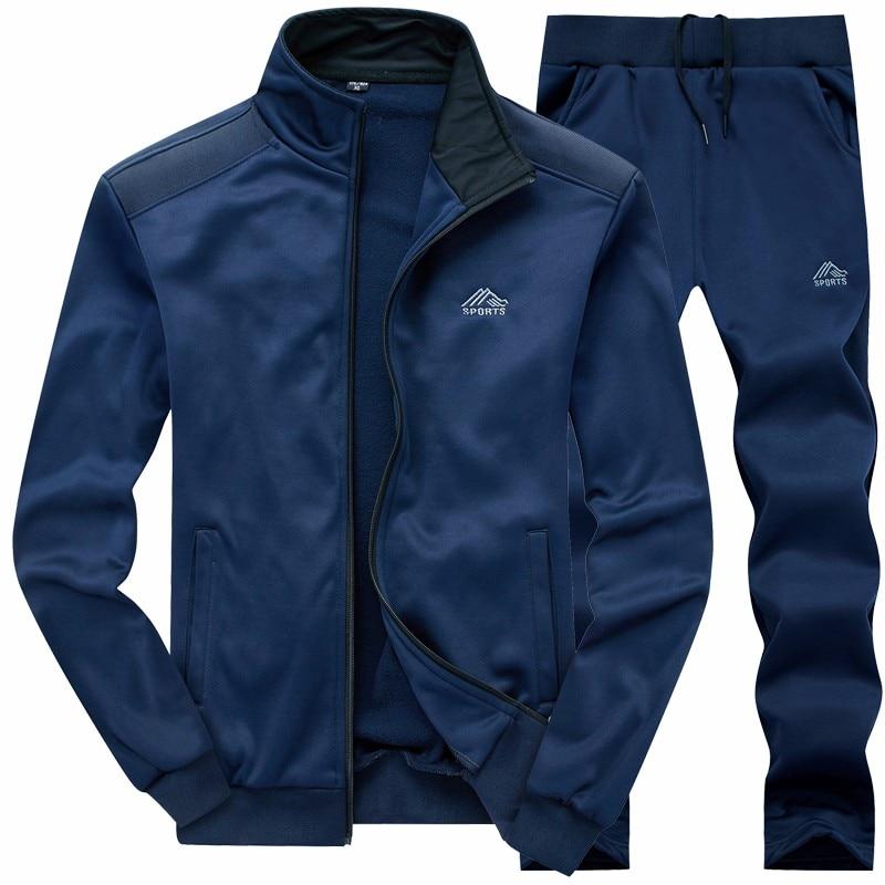 New Men Sets Fashion Sporting Suit Warm Embroidery Zipper Sweatshirt +Sweatpants Men Clothing 2 Pieces Sets Slim Tracksuit 2019