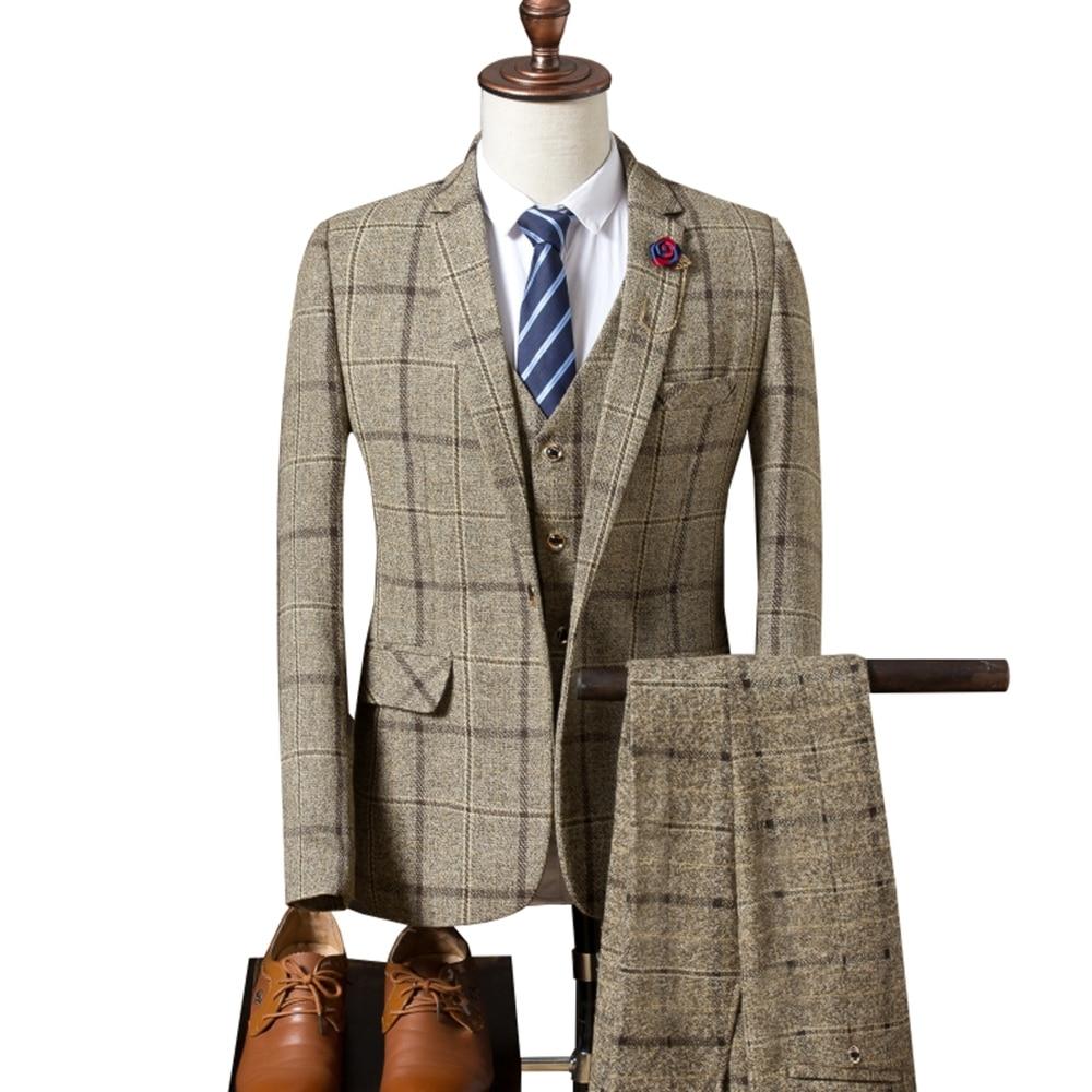 Мужской костюм, новинка 2019, мужской Клетчатый костюм, 3 предмета, классические клетчатые костюмы, мужские деловые свадебные костюмы, облегающие мужские вечерние костюмы Tuexdo - 2