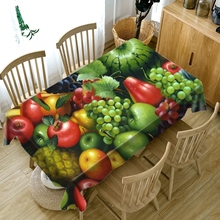 3d Tablecloth Red Cherry Yellow Mango Fruit Pattern Dustproof Dining Table Cloth Rectangular Thicken Polyester Cover