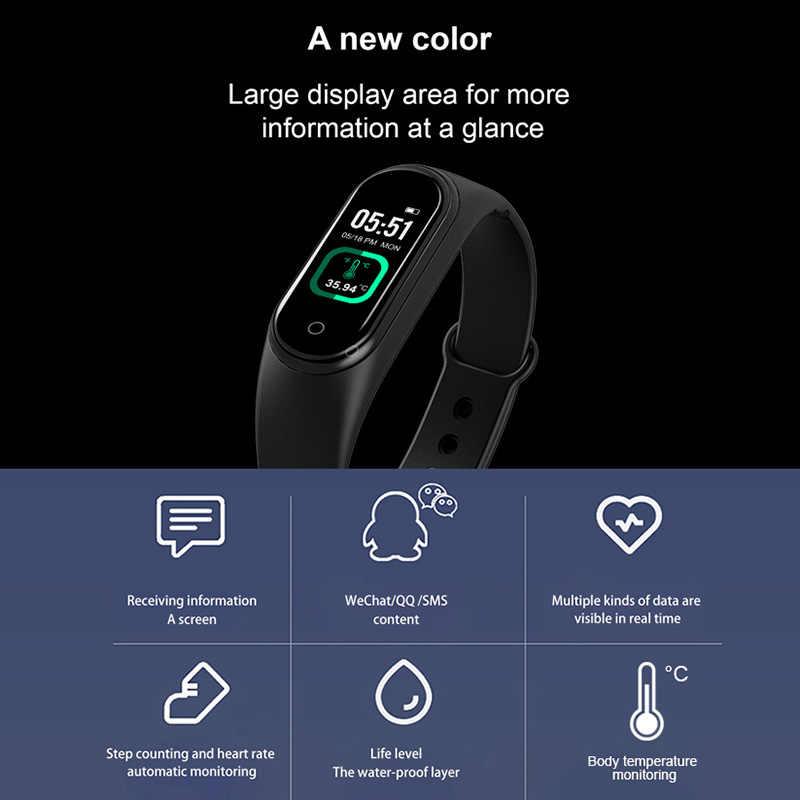 M4 Pro Smart Armbanden Thermometer Hartslag Polsband Bloeddrukmeter Horloge Fitness Smartbands Voor Android Ios 2020