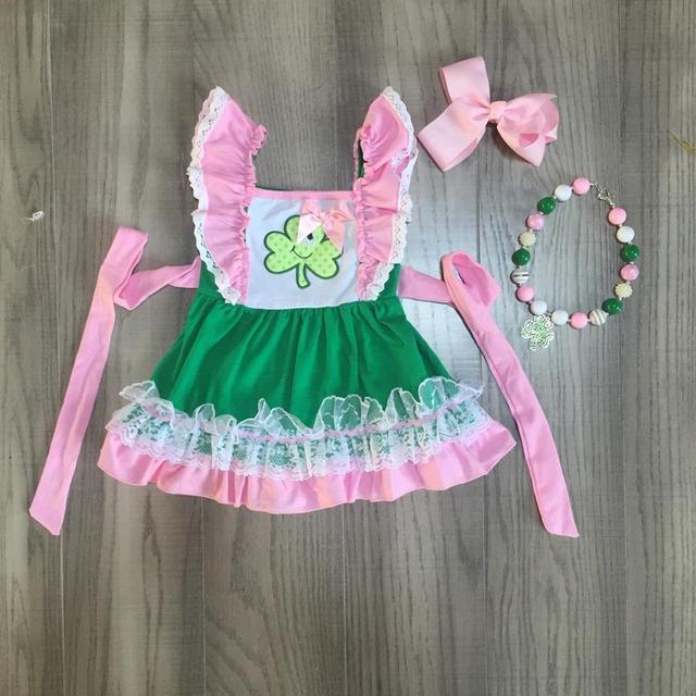 عيد القديس باتريك الفتيات طفل ملابس الأطفال القطن الوردي حزام الكشكشة شامروكس فستان بوتيك الركبة طول مباراة الملحقات