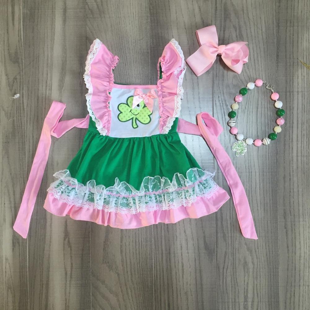 St. Patricks Day girls baby children clothes cotton pink belt ruffles Shamrocks dress boutique knee length match accessoriesClothing Sets   -