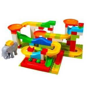 Image 3 - Marble Race Big Block Compatible Duploed Building Blocks Funnel Slide Blocks DIY Big Bricks Toys For Children Gift