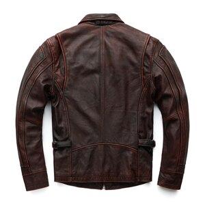Image 4 - MAPLESTEED marka Amekaji silnika w motocyklowym stylu mężczyzn skórzana kurtka czarny czerwony brązowy skóry wołowej kurtki Vintage mężczyźni płaszcz zimowy 5XL M100