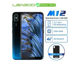 Image 1 - Leagoo M12 אנדרואיד 9 MT6739ww Quad Core 2GB RAM 16GB ROM 5.7 אינץ IPS 3000mAh 5V /1A מטען מהיר פנים מזהה mobilephone