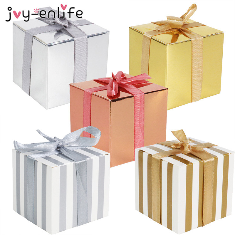 10pcs Paper Gift Box Wedding Party Supplies Solid Colors Stripes Candy Box Birthday Party Baby Shower Decoration Boxes Ribbon