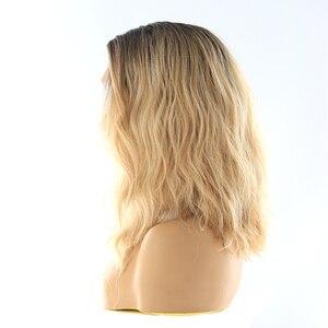 Image 4 - תחרה מול סינטטי שיער פאות X TRESS Ombre חום בלונד צבע טבעי גל צד חלק 12 קצר בוב L חלק תחרה פאה עבור נשים