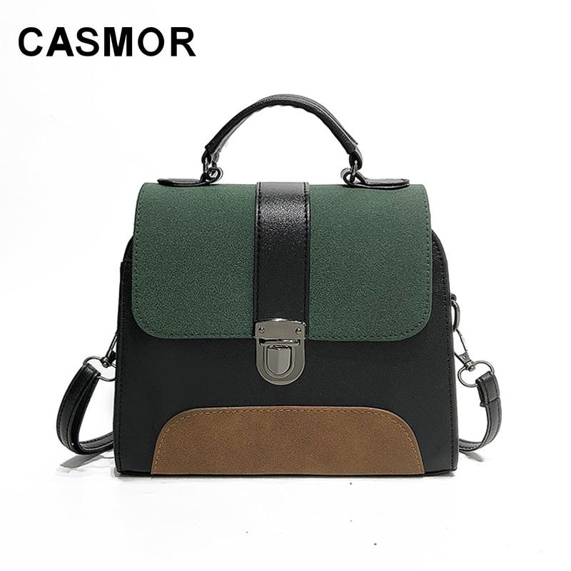 CASMOR Women Handbags 2019 Winter Ladies Fashion Panelled Tote Bags Casual Wild Shoulder Bags Retro Minimalism Flap Bag