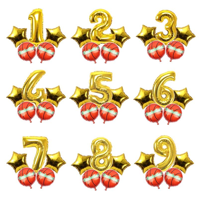 5 шт./лот, фольга, баскетбольные шары с номером, Футбольная фигура, набор, вечерние украшения для дня рождения, детский душ