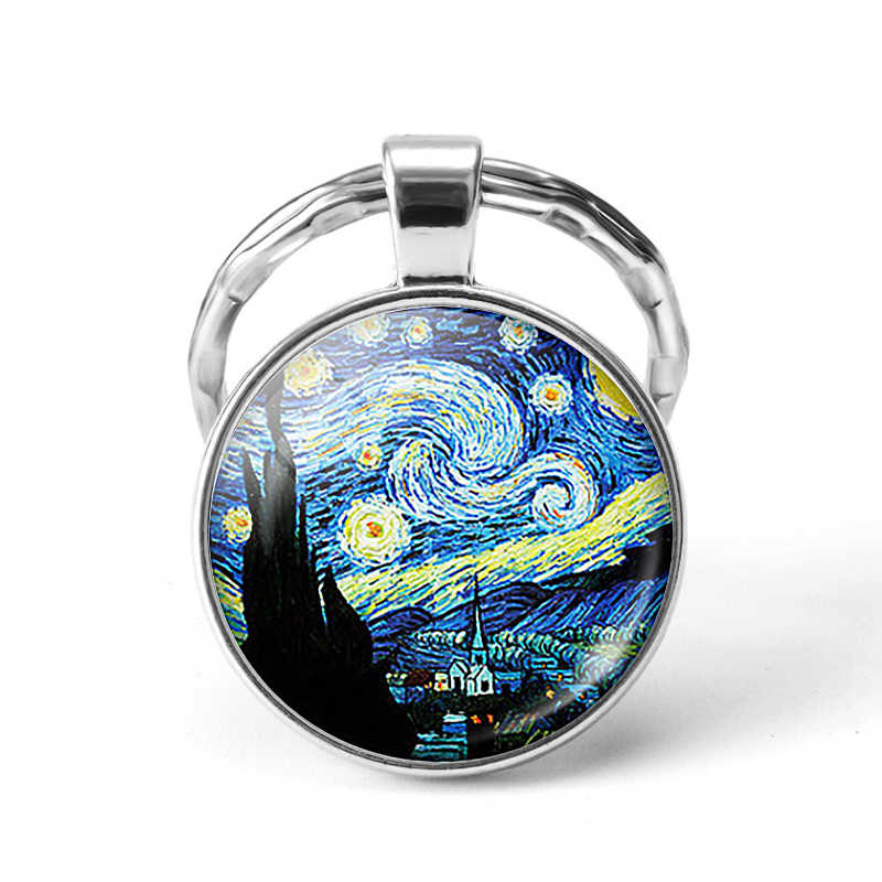 Vintage fashion men and women glass convex round mandala design keychain