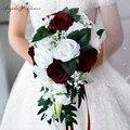 Свадебный букет невесты с водопадом, свадебный букет подружки невесты, украшение в виде цветка, домашний праздничный наряд, европейские роз...