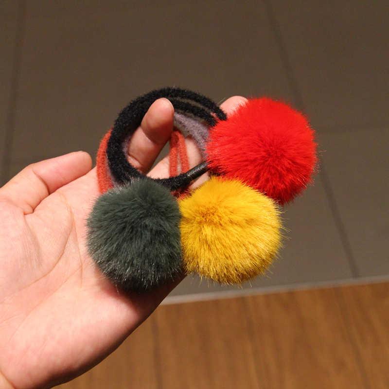 Bebê crianças bonito acessórios de cabelo headwear mini vison bola de borracha headbands meninas crianças cor sólida pompon goma elástico faixa de cabelo
