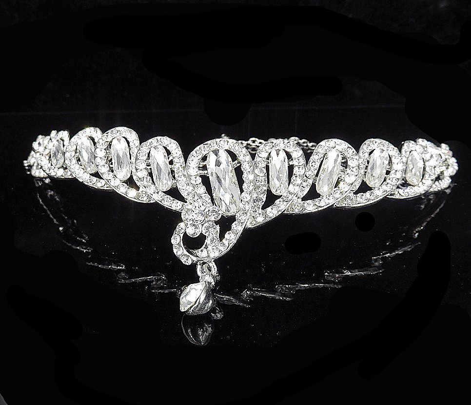 Boda cabello accesorios de plata cabeza de Metal cadena ronda Rhinestone frente pelo nupcial, accesorio peine, joyería de dama de honor Tiara