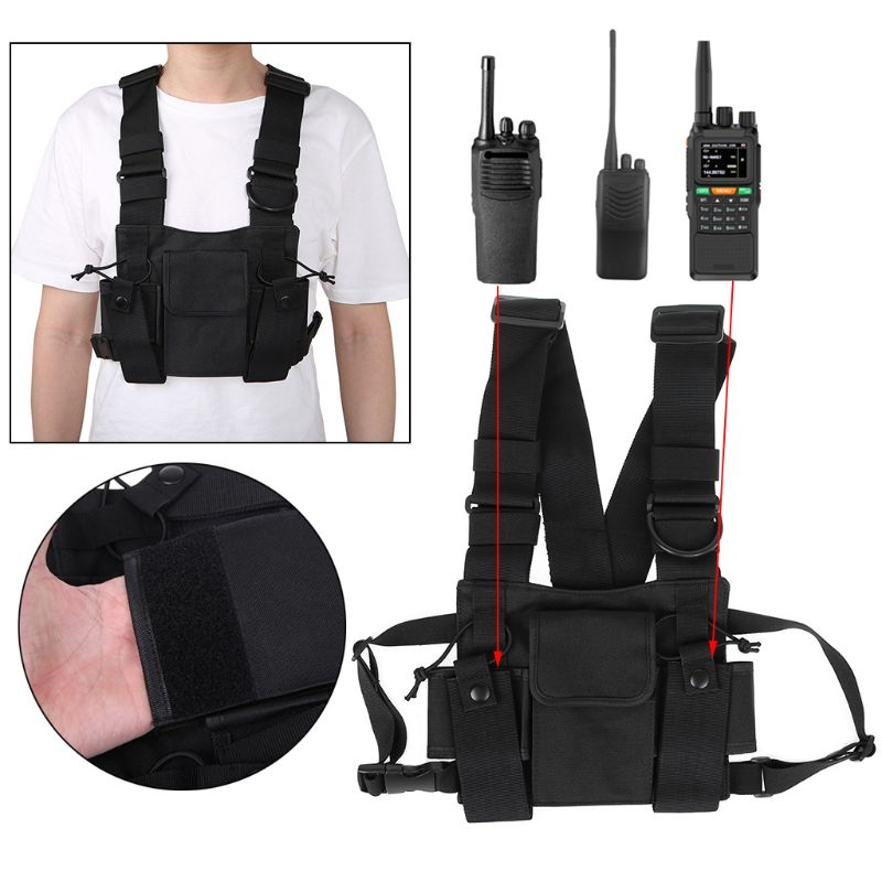 Black Nylon Radio Chest Harness Front Pack Bag Pouch Wireless Walkie Talkie Holster Vest