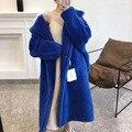 Oso de peluche tiffany azul 2020 nueva marca de ropa de mujer invierno real chaqueta de piel de oveja lana gruesa abrigos calientes de talla grande ropa de abrigo