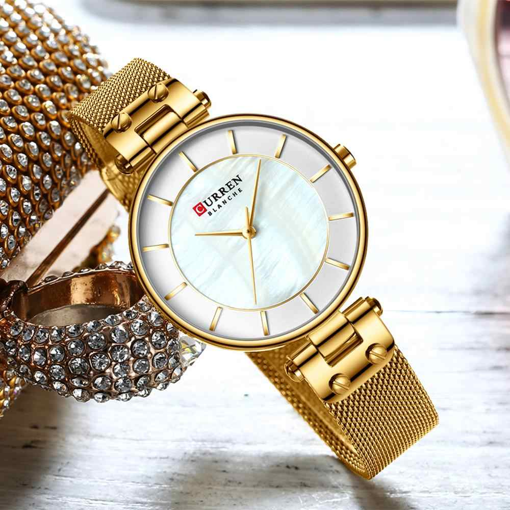 Curren 2019 여성용 시계 패션 숙녀 시계 캐주얼 스테인레스 스틸 밴드 쿼츠 손목 시계 여성 시계 bayan kol saati