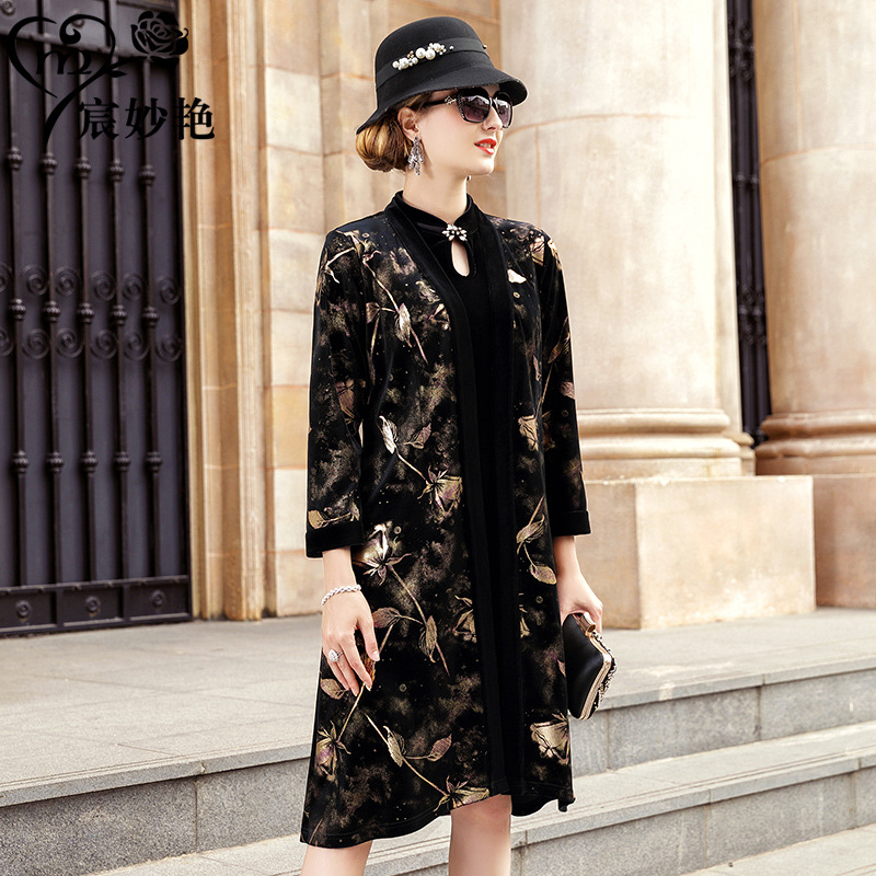 Manufacturers Direct Selling Currently Available Autumn Clothing Women's 2019 New Style Velvet Printed Coat Style Retro Set A Ge