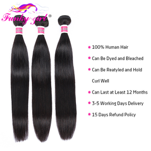 Image 3 - Funky Girl Brazilian Hair Weave 3 Bundles With Lace Closure Free Part Straight Human Hair Bundles With Closure Non remy Hair