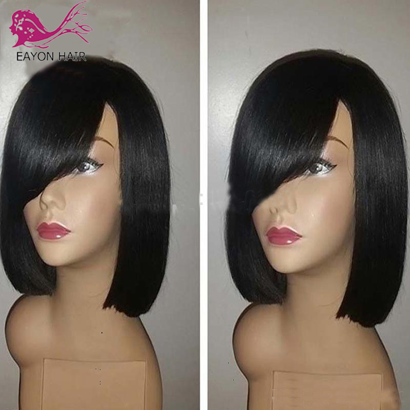 EAYON 13x6 Short Bob Wigs Lace Front Human Hair With Side Bangs Deep Parting Lace Frontal Wig Brazilian Remy Hair Pre Plucked