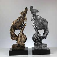 Harz Kunst Stille Maske Figuren Abstrakte Schweigen Ist Gold Statuetten Maske Miniaturen Skulptur Hause Dekoration Kunstwerk G