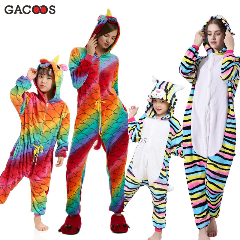 Warm Winter Unicorn Pajamas For Boys Girls Kigurumi Panda Pyjamas Women Onesies Unicornio Flannel Stitch Cat Sleepwear Jumpsuits