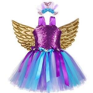 Image 2 - 소녀 유니콘 조랑말 의상 머리띠 투투 드레스 꽃 스팽글 공주 소녀 파티 드레스 어린이 키즈 유니콘 의상 새로운