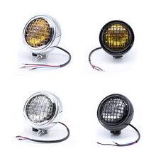Motorcycles Headlight 5.75 Chrome Mesh Grill Lighting Front Head Light Lamp For Bonneville Scrambler T100 T214 Triumph