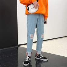 купить Autumn New Hole Jeans Men Slim Fashion Washed Solid Color Casual Denim Pants Men Streetwear Wild Hip Hop Straight Jean Trousers дешево