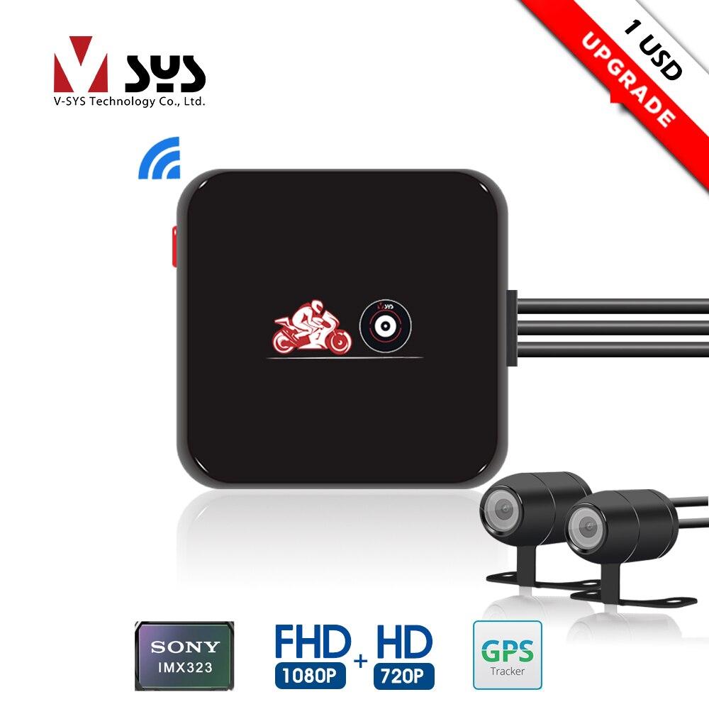 SYS VSYS M6L P6L WiFi moto DVR Dash Cam Full HD 1080 P + 720 P vue arrière avant étanche moto caméra boîte enregistreur noir