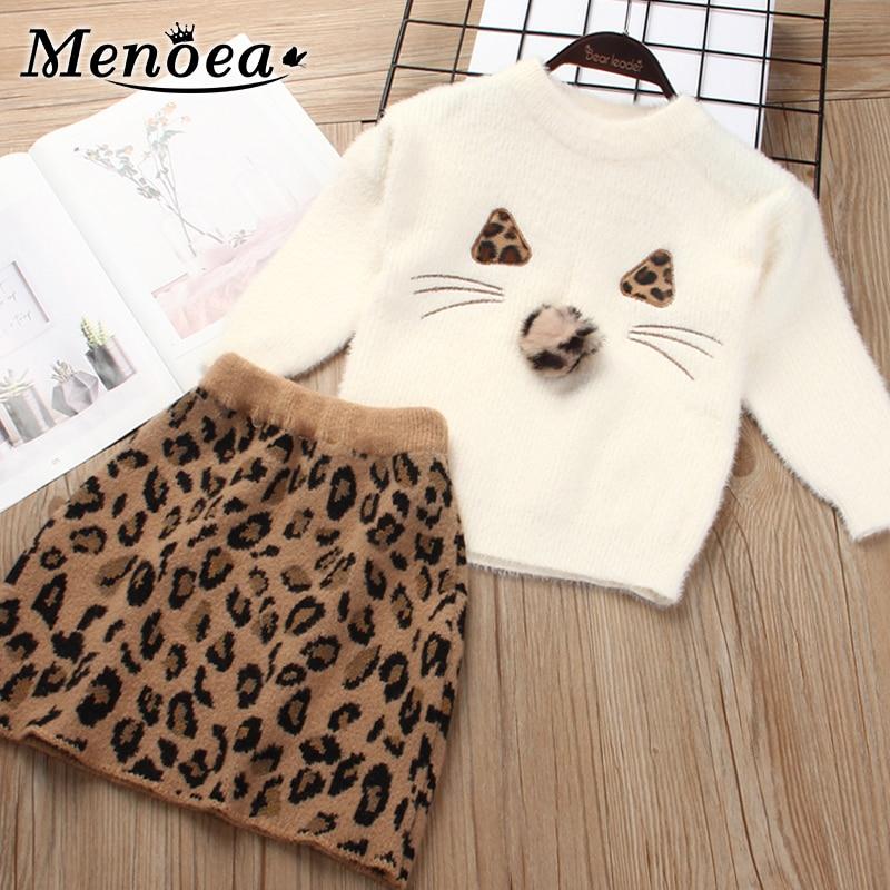 Menoea Children Autumn Leopard Clothes Kids Winter Sweater Dress Woollen Long Sleeve Cat Design Girls Clothes Knit Dresses