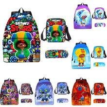 Adisputent 3pcs Bag Set Boys Brawling Stars Schoolbags Kid Leon School Backpack Boy Bookbag Student Schoolbag Kid Pen Pencil Bag