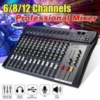6/8/12 Channel Audio Mixer USB Professional Studio DJ Mixing Console Karaoke Amplifier Digital KTV Sound Mixer audio